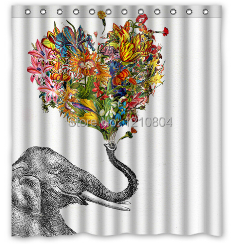 Custom 66x72 Inch Newspaper Elephant Aztec Floral Shower Curtain Amazing Decorate Your Bathroom