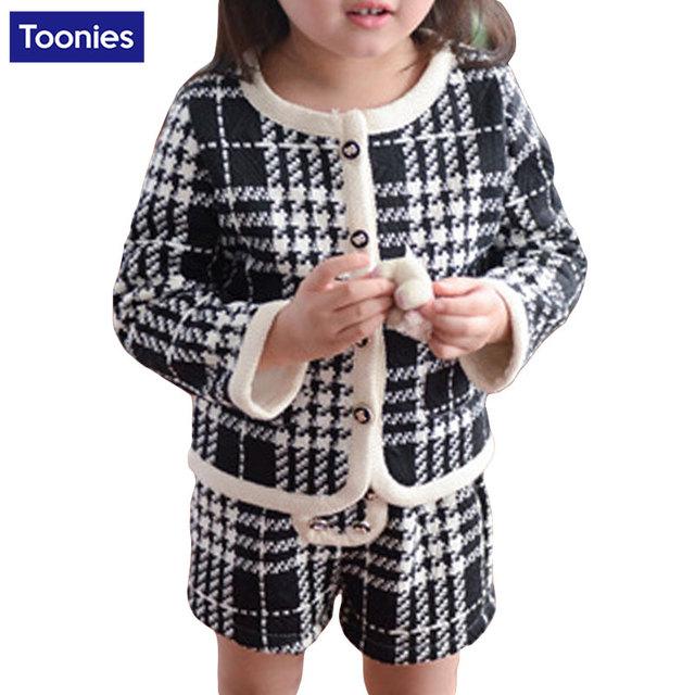 Primavera Otoño Ropa de Bebé Juego de La Muchacha Niños Ropa Niñas Establece trajes Chaqueta A Cuadros De Moda Pantalones Cortos de Los Niños Ropa Del Cabrito Fijaron