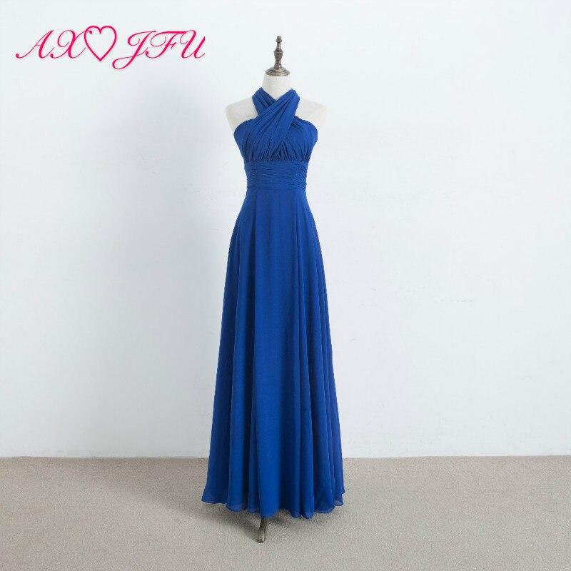AXJFU длинный шифон Кабриолет для невесты платья королевский синий О образным вырезом новое летнее пляжное свадебное платье 100% настоящая фот