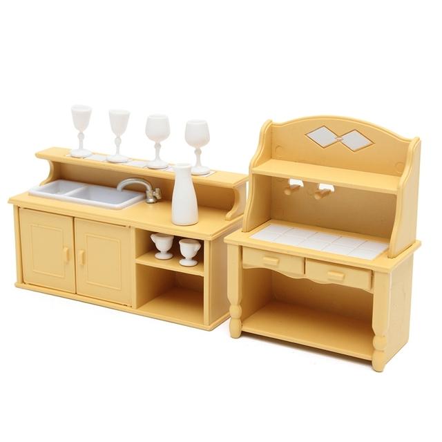 Cute Doll House Miniature Kitchen Cabinets 2 pcs Set