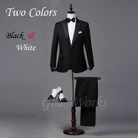 Mens White Suits Wedding Groom Black Tailor Blazer Wedding For Men Suit 2 Colors 7 Size Groomsmen