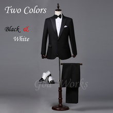 Mens White Suits Wedding Groom Black Tailor Blazer Wedding For Men Suit 2 Colors 7 Size Groomsmen