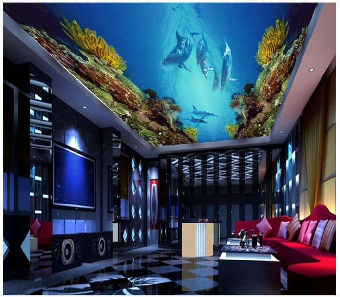 Custom 3d wallpaper 3d ceiling murals wallpaper The coral sea world dream ceiling murals ceiling wallpaper home dceor bedroom