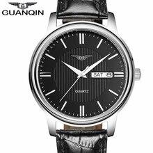 NUEVA GUANQIN Hombres Relojes Casual Día Fecha Reloj de Cuarzo Correa de Cuero Reloj de Los Hombres Reloj de Pulsera relogios masculino Regalos de Año Nuevo