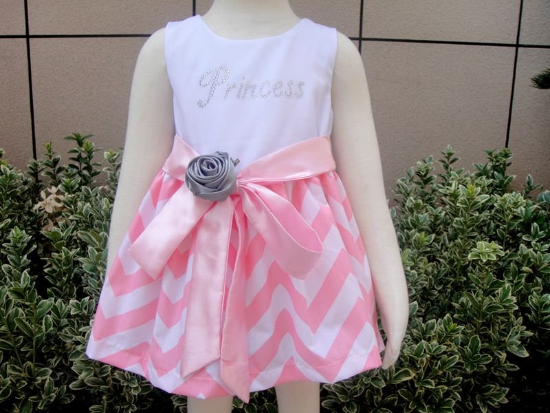 91ec7d6ad Girls Monogrammed Chevron Easter Dress Pink and White with Silver ...