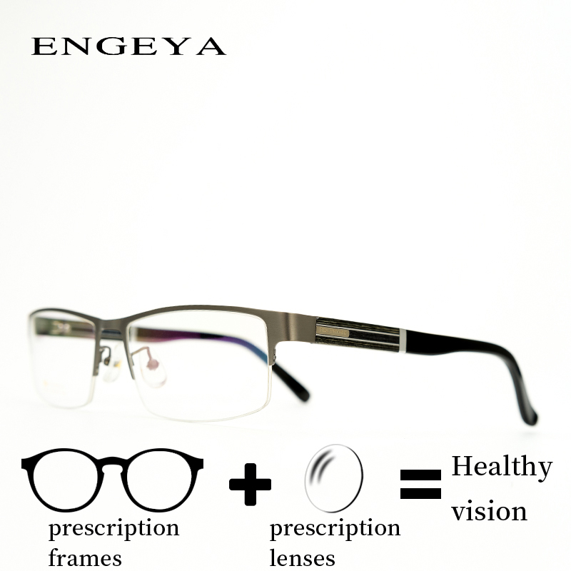 Alloy Eyewear Prescription Men Eyeglasses Fashion Designer Half Rim Myopia Reading Presbyopia Transition Spectacles IP6010