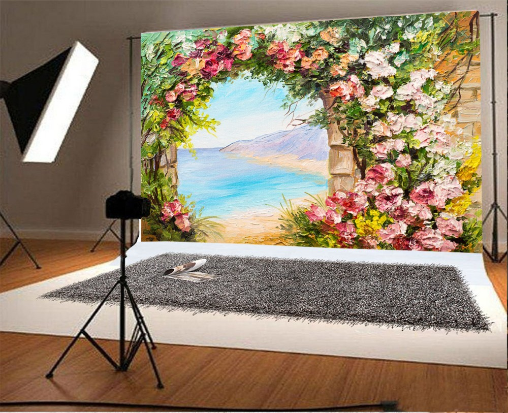 Laeacco Round Arch Flowers Garden Gate Sea Scenic Oil Painting Photography  Backdrops Vinyl Custom Backgrounds For Photo Studio In Background From  Consumer ...