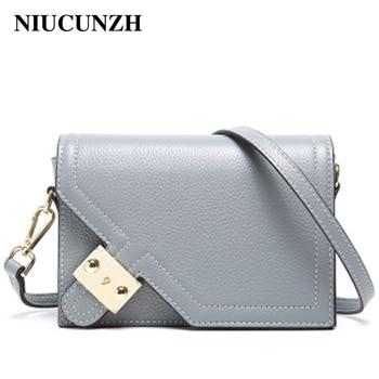 NIUCUNZH Cowhide Leather Messenger bag Women's handbag Female Small Flap Ladies Leather Bags Hasp Luxury Brand Shoulder bag