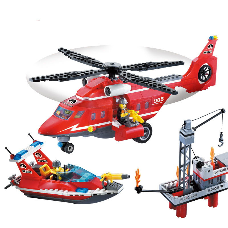 905 ENLIGHTEN 404Pcs Fire Fighting Sea Rescue Teams Model Building Blocks DIy Action Figure Toys For Children Compatible Legoe decool 3117 city creator 3 in 1 vacation getaways model building blocks enlighten diy figure toys for children compatible legoe