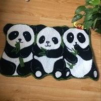 80cm 50cm 3 Pandas Rug Handmade Rugs Non Slip Floor Mats For Bathroom Animal Rug For
