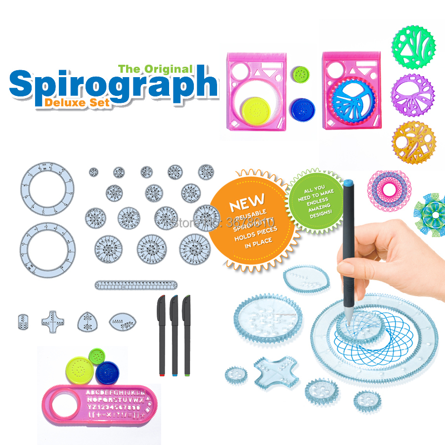 Spiral Art Design Spirograph Drawing Toys Playset With More Accessories Interlocking Gears,Wheels Interchangeable Frame Pieces