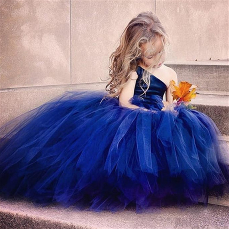 Flower     Girl     Dress   Blue   Flowers  /Ribbons for   Girls   Tulle   Dresses   Birthday Party Wedding Ceremonious Kid   Girl   Clothes Gown for Kids