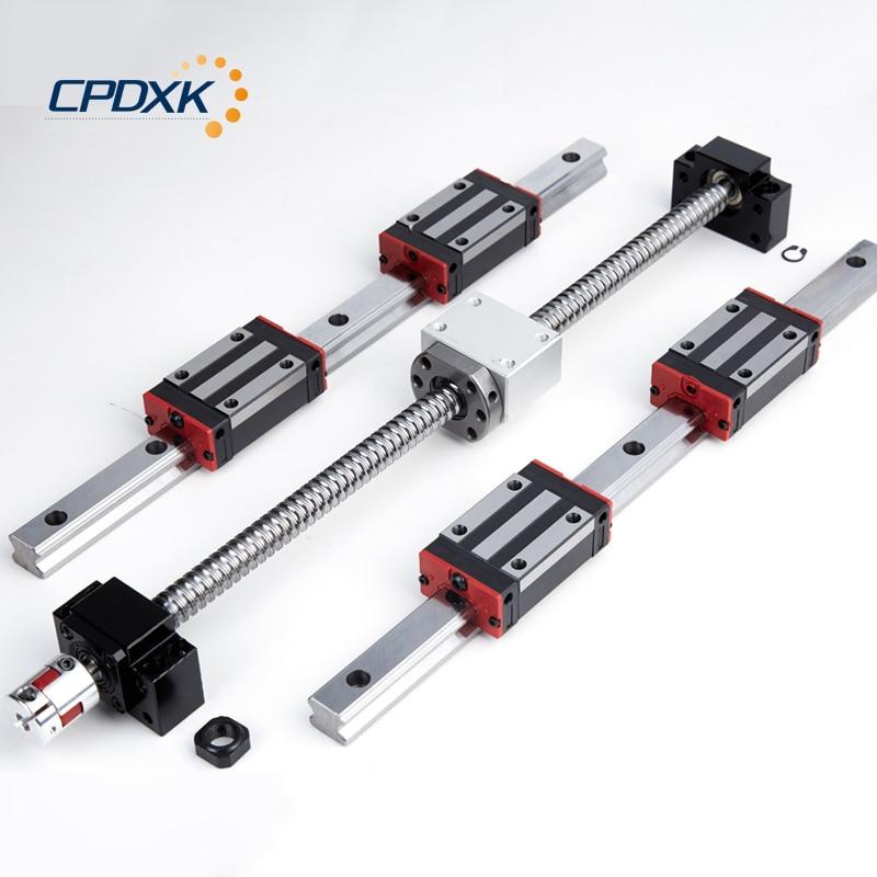 Vis à billes CNC SFU1605 + guidage linéaire HG20 1000mm 2 pièces + bloc linéaire HGH20CA 4 pièces + support d'extrémité de vis BK12 BF12 + coupleur