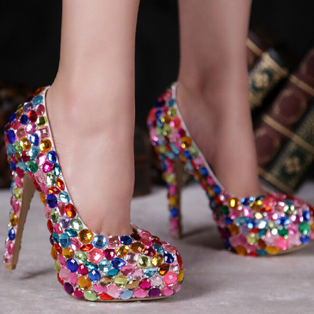 Red Pink Blue Multi Color Sparkly Crystal Wedding Dress Shoes Womens High  Heel Fashion Diamond Pumps for Evening Party Prom eaa842514f