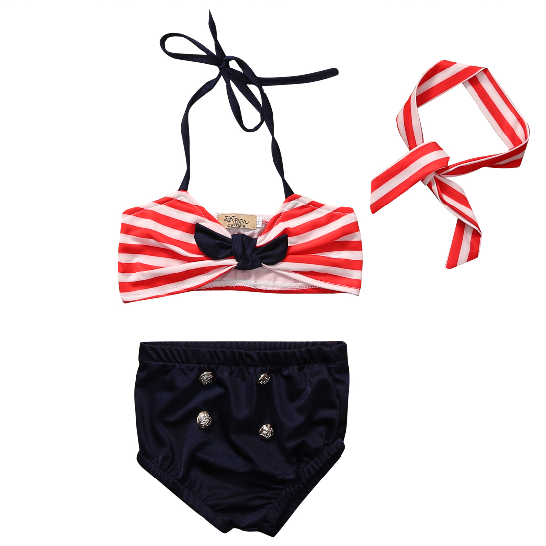 3Pcs Cute Kids Baby Girl ClothesBikini Sets Stripe tops+Bottoms+Headband Swimwear Swimming Kids Girls Summer Clothes 3pcs outfit infantil girls clothes toddler baby girl plaid ruffled tops kids girls denim shorts cute headband summer outfits set