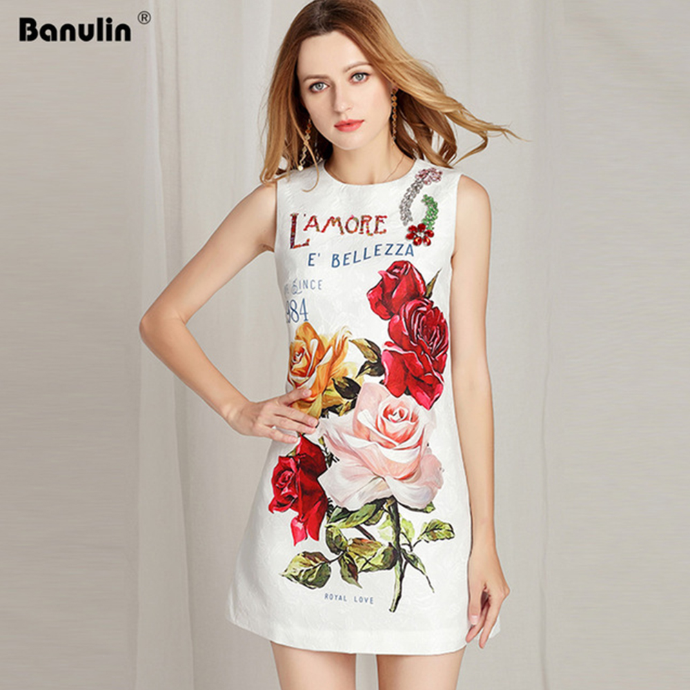 Banulin Runway Summer Party Tank Dress Women s Charming Beading Appliques Peony Flower Printed Party vestidos