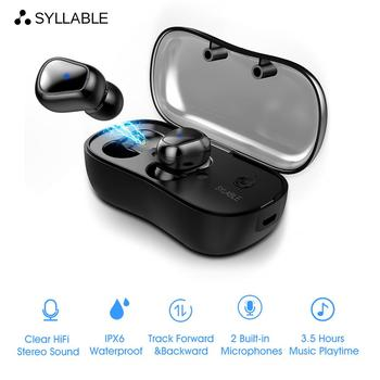 SYLLABLE D9 TWS Bluetooth Earphone True Wireless Stereo Earbud Sweatproof Bluetooth Headset for Phone HD Communication Portable Honda CBR250R