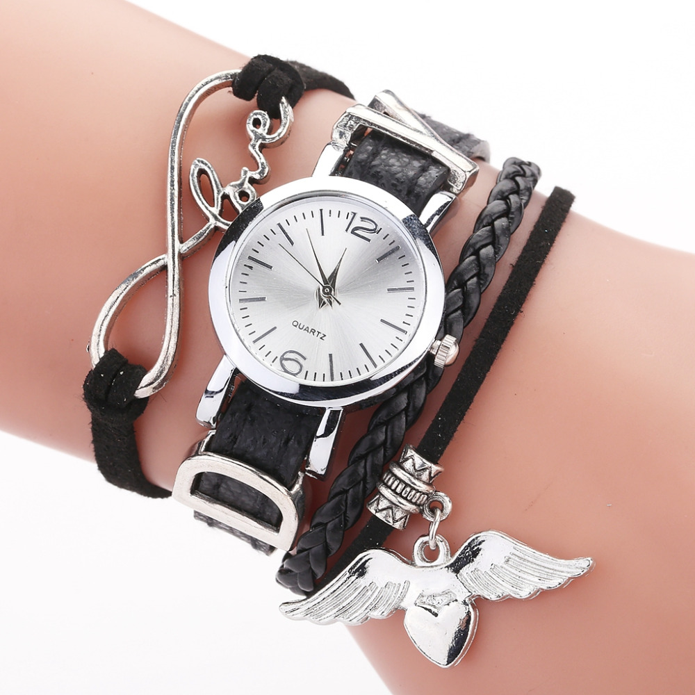Duoya Brand Watches For Women Luxury Silver Heart Pendant Leather Belt Quartz Clock Ladies Wrist Watch 2019 Zegarek Damski