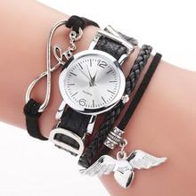 Duoya Brand Watches For Women Luxury Silver Heart Pendant Leather Belt Quartz Cl