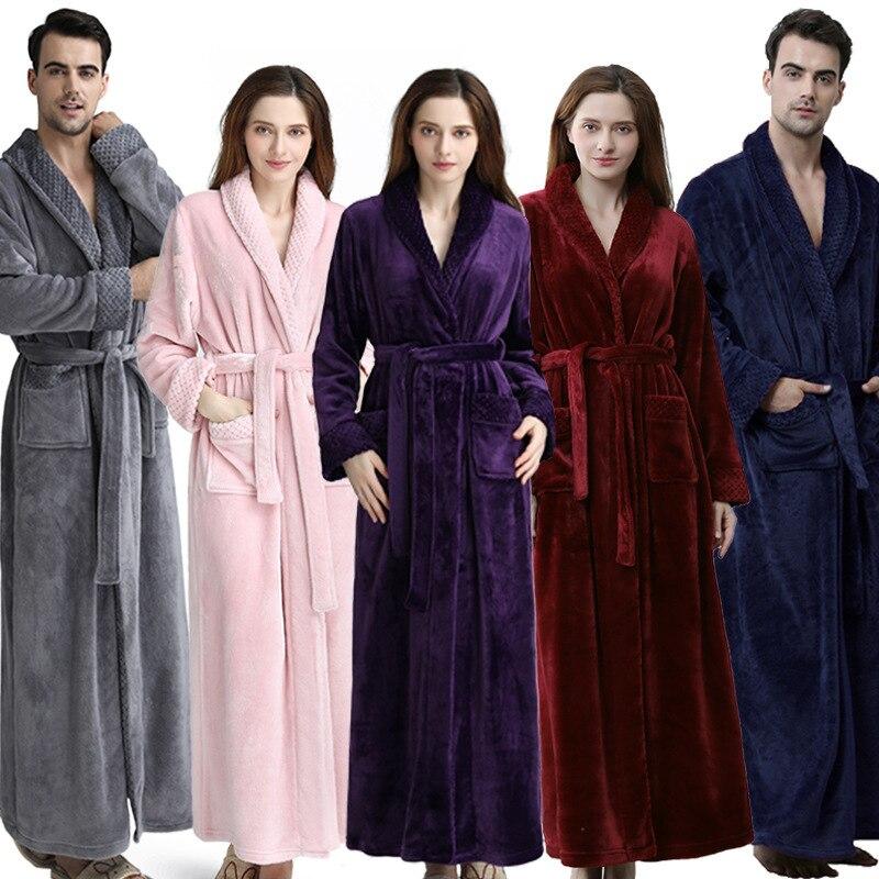 2019 Herbst Und Winter Neue Flanell Nachthemd Lange Xl Dicke Männer Und Frauen Paar Pyjamas Bademantel Liebhaber