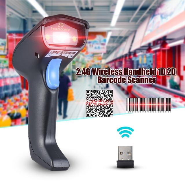 Laser 2.4G Wireless Barcode Scanner 1D 2D Handheld QR Barcode Bar Code Scanner Reader with Receiver USB2.0 Cable for Supermarket 5