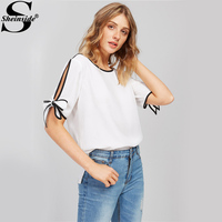 Sheinside Bow Tie Split Sleeve Blouse White Elegant Tops 2017 Contrast Binding Women Summer Tops Casual
