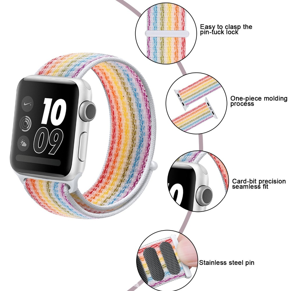 LNOP Lightweight Breathable sport loop band for apple watch 42mm 38mm for iwatch 3/2/1 woven nylon loop wrist band braclet belt