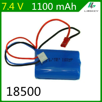 7.4V 1100mAH Lipo Battery For Remote control helicopter Li-po battery 7.4 V 1100 mAH 15C discharge 18500 toy batteryCylindrical image