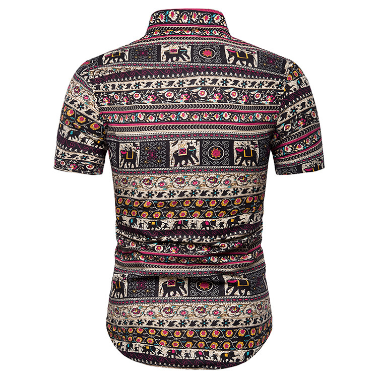 Domple Mens Loose Long Sleeve Casual Longline African Floral Print Shirts