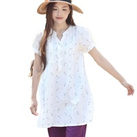 Womens Tops 2016 Puff Sleeve A Line White Pleated Summer Dress Star Print Short Sleeve Shirt