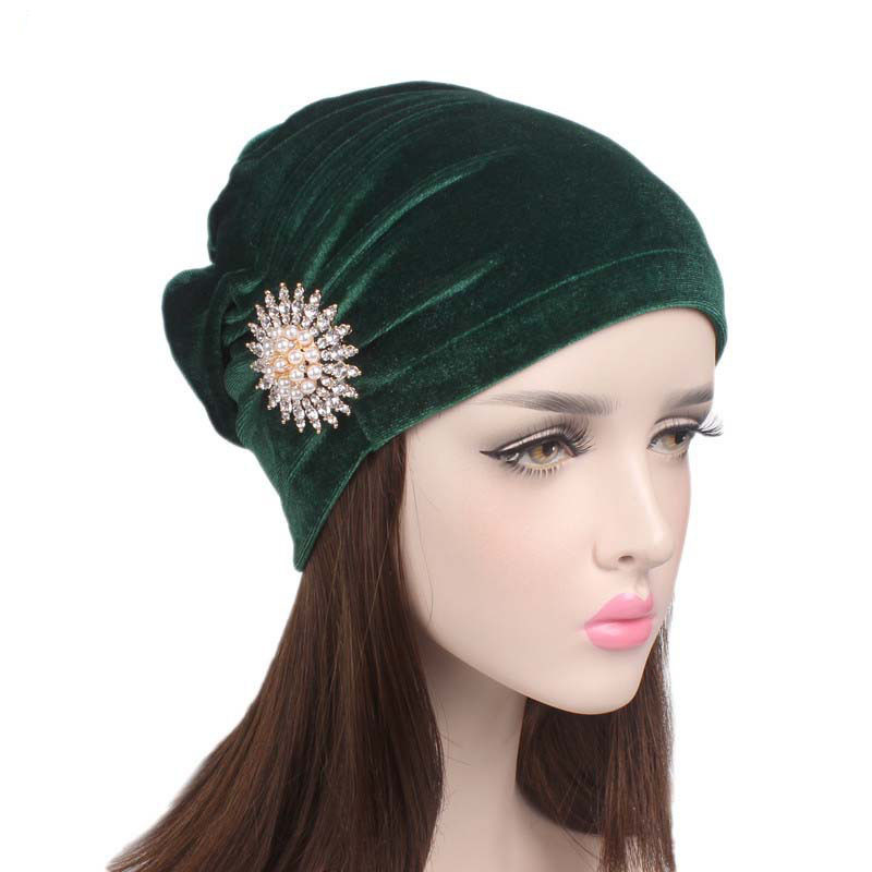 Middle East Spring Autume New India Caps Hats Velvet Muslim Solid Color Hat Turban Hats For Womens Headwear chsdcsi pleuche women turban caps twist dome caps head wrap europe style india hats womens beanies skullies for fall and spring
