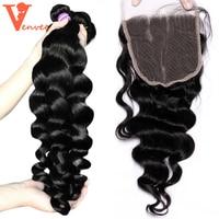 Loose Wave 3 Human Hair Bundles With Closure 4Pcs Brazilian Virgin Hair Bundles With Lace Frontal Closure with bundles Venvee