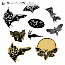 QIHE PERHIASAN Emas Hitam Punk Ghost Skeleton Skull Bat pin Keras enamel pin Lencana Bros Halloween Spooky Mati Hewan Perhiasan(China)