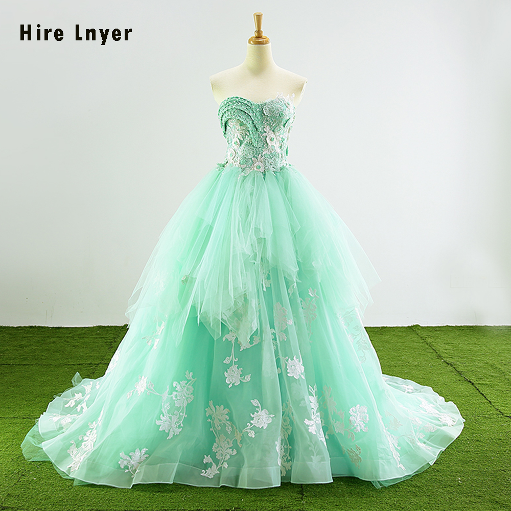 Najowpjg 2019 New Special Sweetheart Neck Lace Up Appliques Pearls Mint Green Ruffled Organza Ball Gown Wedding Dress Plus Size