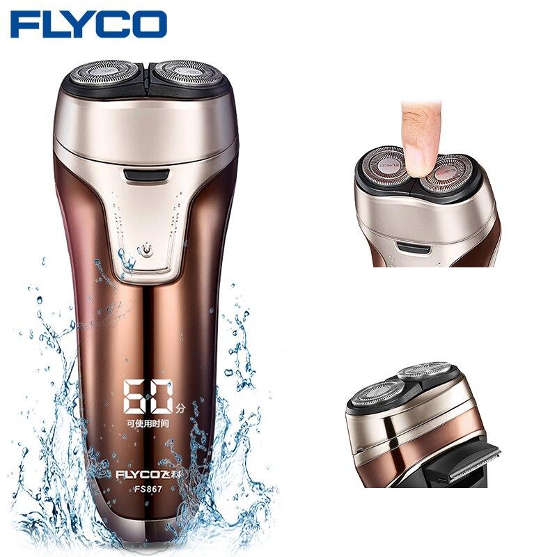 Flyco máquina FS867 húmedo/Seco doble máquina de afeitar para hombres impermeable barba de Pop-Up Trimmer Barbeador Eletrico Masculino barbeador