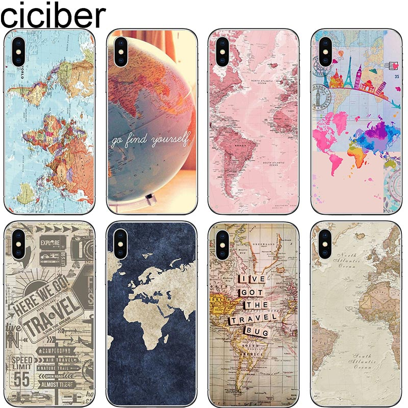 ciciber World Map Travel Plans Soft Silicon Cover For iphone 7 8 6 6S Plus 5S SE X XR XS MAX Phone Cases Fundas Capa