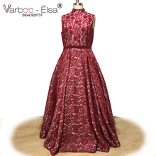 VARBOO ELSA Burgundy Lace Evening Dress High Neck Sleeveless Prom Dress  vestido de festa Custom 2018 Arab 559386bd9ee2