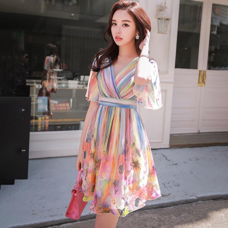 Dabuwawa New Women Summer Sexy V neck Colorful Print Dress New High Waist Ruffles Korean Contrast