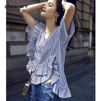 Cheerart 2017 V Neck White And Blue Striped Ruffle Blouse High Low Shirt Summer Korean Ladies