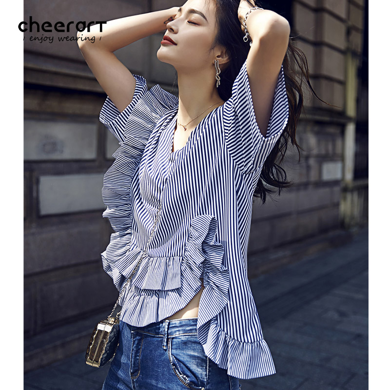 3f388f4c1301 Cheerart V Neck White And Blue Striped Ruffle Blouse High Low Shirt Summer  Korean Ladies Top With Flounces Clothing-in Blouses   Shirts from Women s  ...