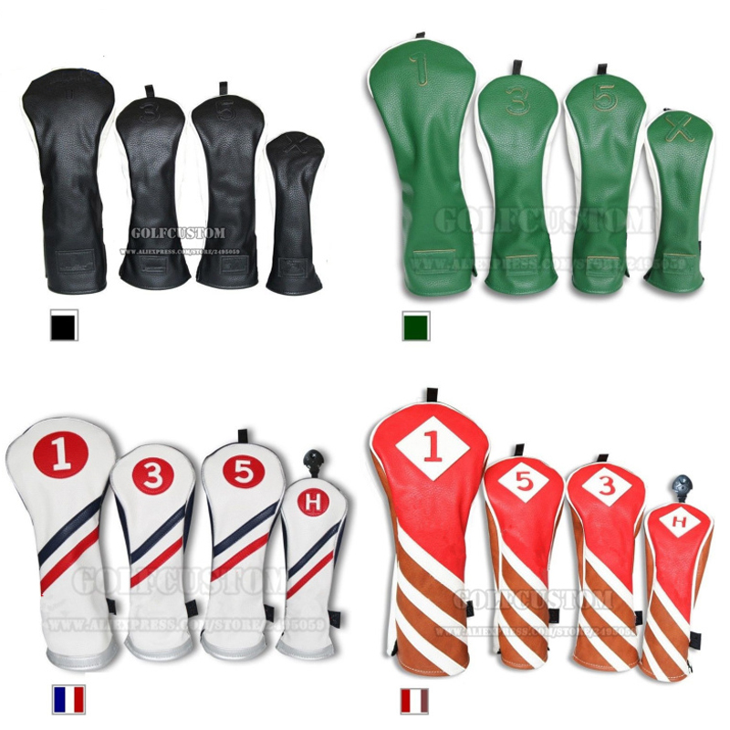 2016 NEW style Golf Wood Head Covers Headcover Driver FW Rescue <font><b>Hybrid</b></font> Cover golf club leather covers coustom logo