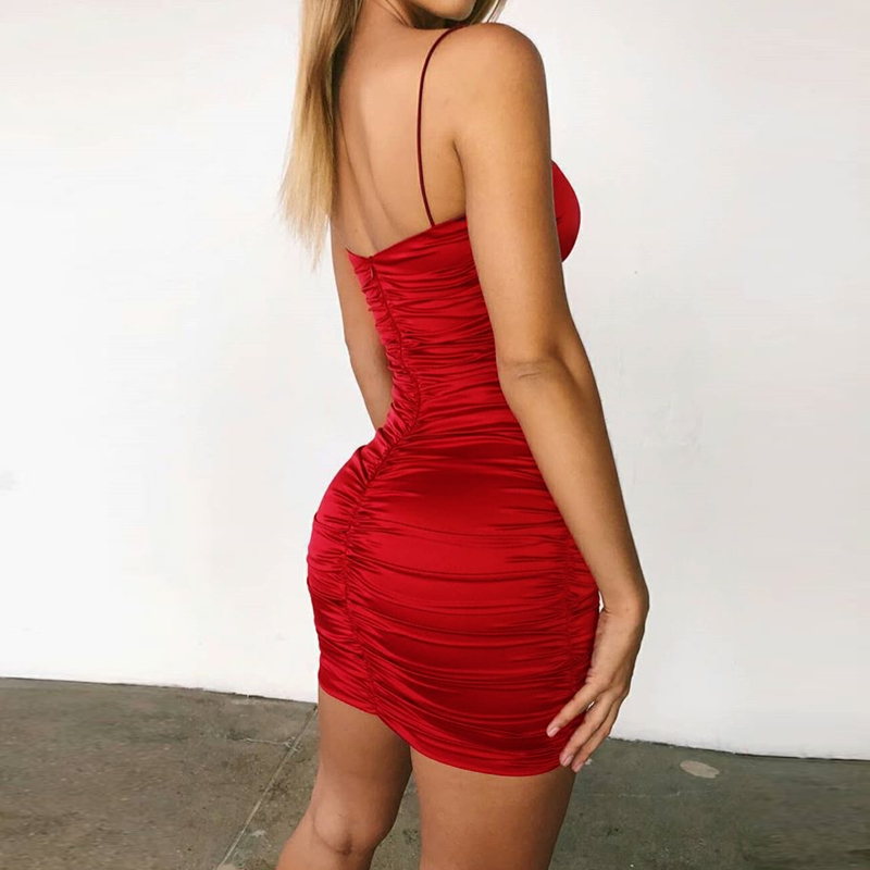 Red Pleated Cocketail Party Dress Strappy Backless Hollow Out Bodycon Stretchy Mini Dress