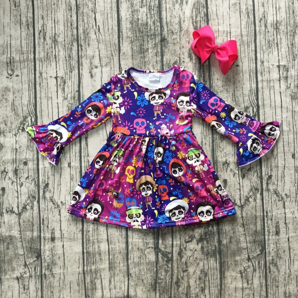 new milk silk Carton COCO dress girls children clothes baby Fall/Winter long sleeve dress boutique kids wear match clip bow girls beauty glamorous bow sequin embroidery bubble long sleeve full clip dress