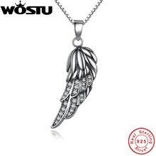Venta caliente a estrenar 925 sterling silver angel wing feather colgante collares Con Clear CZ para Mujeres Niñas Regalo de La Joyería Para amigos