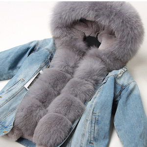 Image 1 - Maomaokong naturel lapin fourrure doublé denim veste renard fourrure manteau manteau mode denim renard fourrure chaude dame hiver veste femmes parka