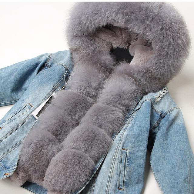 Maomaokong 천연 토끼 모피 줄 지어 데님 재킷 여우 모피 코트 코트 패션 데님 여우 모피 따뜻한 레이디 겨울 자켓 여성 파카