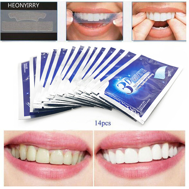 Tiras de Gel blanco 3D para Blanqueamiento Dental Cuidado de la higiene bucal doble tiras elásticas para blanquear dientes herramientas de blanqueamiento Dental 7 pares/ 14 Par