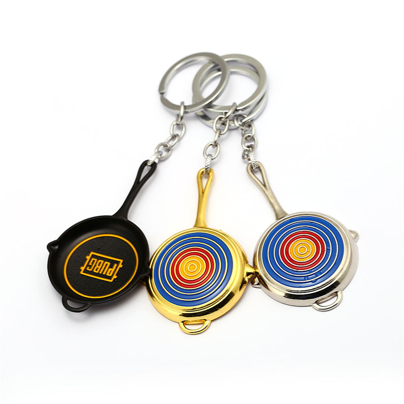 New Game PUBG Keychain Metal Pans Small 8cm Black Sliver Key Chain Rings Bullseye Men Gift Jewelry Accessories Chaveiro Bag Car