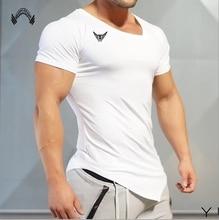 Muscleguys Summer Bodybuilding and Fitness Mens Short Sleeve T-shirt Gyms Sporting Shirt Men Muscle Tights T Shirt Size m-xxl