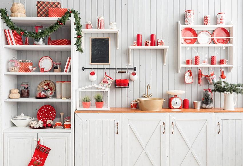 MEHOFOTO Christmas Kitchen Background Wood For Photo Studio Child Cook Backdrop Photobooth Photocall Photography Photo Shoot
